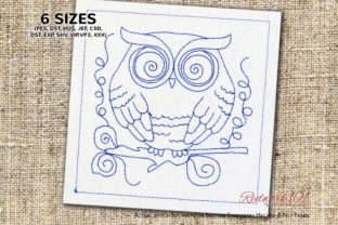 Owl with Big Eyes Bluework Birds Embroidery Design By Redwork101