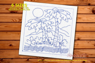 Palm with Sea Wave on Sunny Background Beach & Nautical Embroidery Design By Redwork101