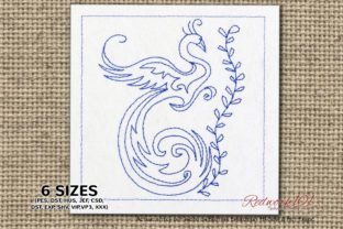 Peacock Bird with Branch Lineart Birds Embroidery Design By Redwork101