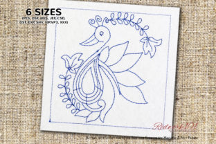 Peacock Floral Pattern Redwork Intricate Cuts Embroidery Design By Redwork101