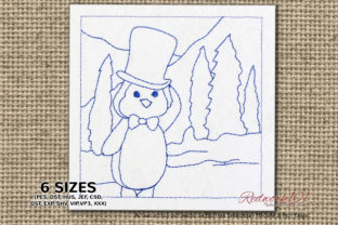 Penguin in Snow Birds Embroidery Design By Redwork101