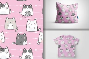 Seamless Kawaii Cute Cats Pattern Graphic Patterns By lindoet23