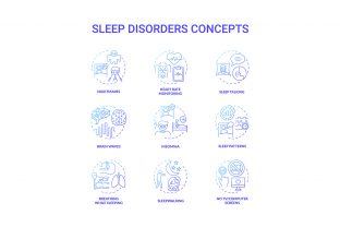 Print on Demand: Sleep Disorder Blue Gradient Icons Graphic Icons By bsd studio