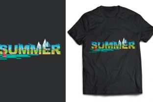 Summer Text Double Exposure T-Shirt Graphic Print Templates By naemislamcmt