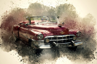 Print on Demand: Vintage Car Printables 300 Dpi Pack 14 Graphic Illustrations By The leaves river