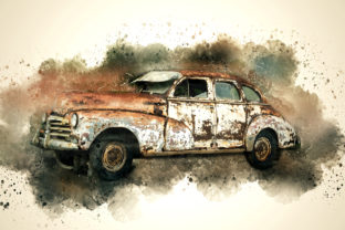 Print on Demand: Vintage Car Printables 300 Dpi Pack 15 Graphic Illustrations By The leaves river