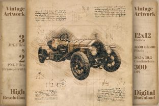 Print on Demand: Vintage Car Rustic Retro Drawing Sketch Graphic Illustrations By Vintage 12by12
