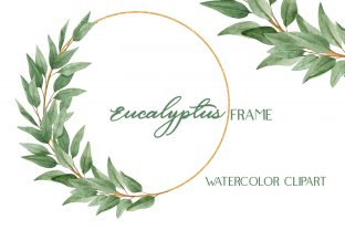 Watercolor Eucalyptus Gold Frame Clipart Graphic Illustrations By outlander1746