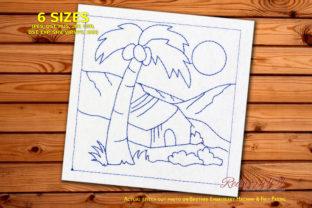 Wooden Hut with Palm Tree Redwork Cities & Villages Embroidery Design By Redwork101