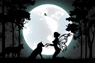 Print on Demand: Cute Fairy and Wolf Silhouette Graphic Illustrations By curutdesign