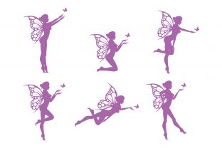 Print on Demand: Silhouette of Sexy Fairy with Butterfly Graphic Illustrations By curutdesign