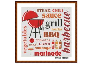 Print on Demand: Barbecue Kitchen Cross Stitch Pattern Graphic Cross Stitch Patterns By Tango Stitch