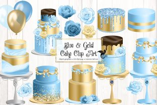 Print on Demand: Blue and Gold Cakes Clip Art Graphic Illustrations By Digital Curio