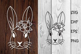 Print on Demand: Bunny with Flowers Easter Svg Cut File Graphic Print Templates By dadan_pm