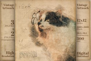 Print on Demand: Cat & Butterfly Retro Drawing Sketch Graphic Illustrations By Vintage 12by12