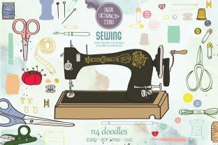 Color Sewing Doodles | Singer Machine Graphic Illustrations By Digital_Draw_Studio
