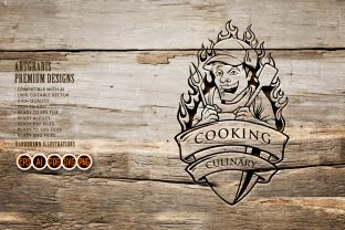Print on Demand: Cooking Man Chef Smile Illustrations SVG Graphic Crafts By artgrarisstudio