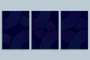 Print on Demand: Cover Design Set with Gradient Circles Graphic Backgrounds By medelwardi