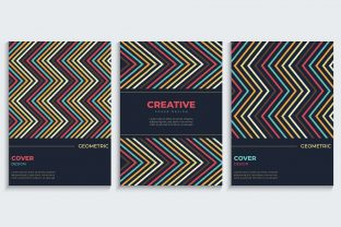 Print on Demand: Cover Design Set with Zigzag Lines Graphic Backgrounds By medelwardi