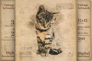 Print on Demand: Cute Kitten Retro Cat Drawing Sketch Graphic Illustrations By Vintage 12by12