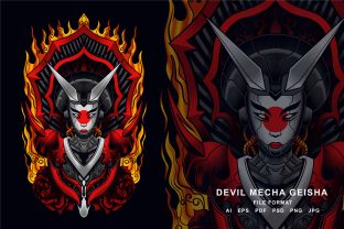 Print on Demand: Devil Mecha  Geisha Illustration Graphic Illustrations By EkoZero7