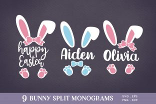 Easter Bunny Ears Split Monogram Svg Png Graphic Crafts By peachycottoncandy