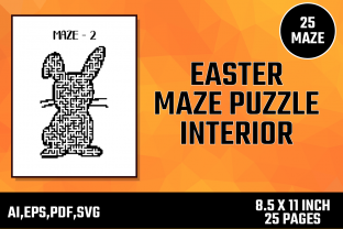 Print on Demand: Easter Maze Puzzle Interior Custom Shape Graphic KDP Interiors By Moonfrog Design House
