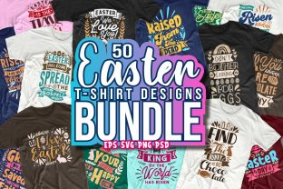 Print on Demand: Easter Day Quotes T-shirt Design Bundle Graphic Print Templates By Universtock
