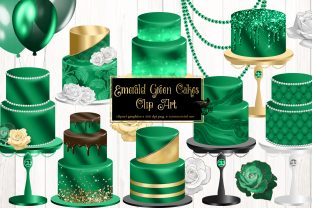 Print on Demand: Emerald Green Cakes Clip Art Graphic Illustrations By Digital Curio