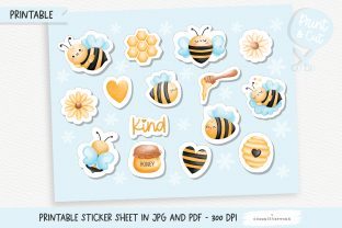 Print on Demand: Honey Bee Printable Stickers, Planner Graphic Crafts By Chonnieartwork