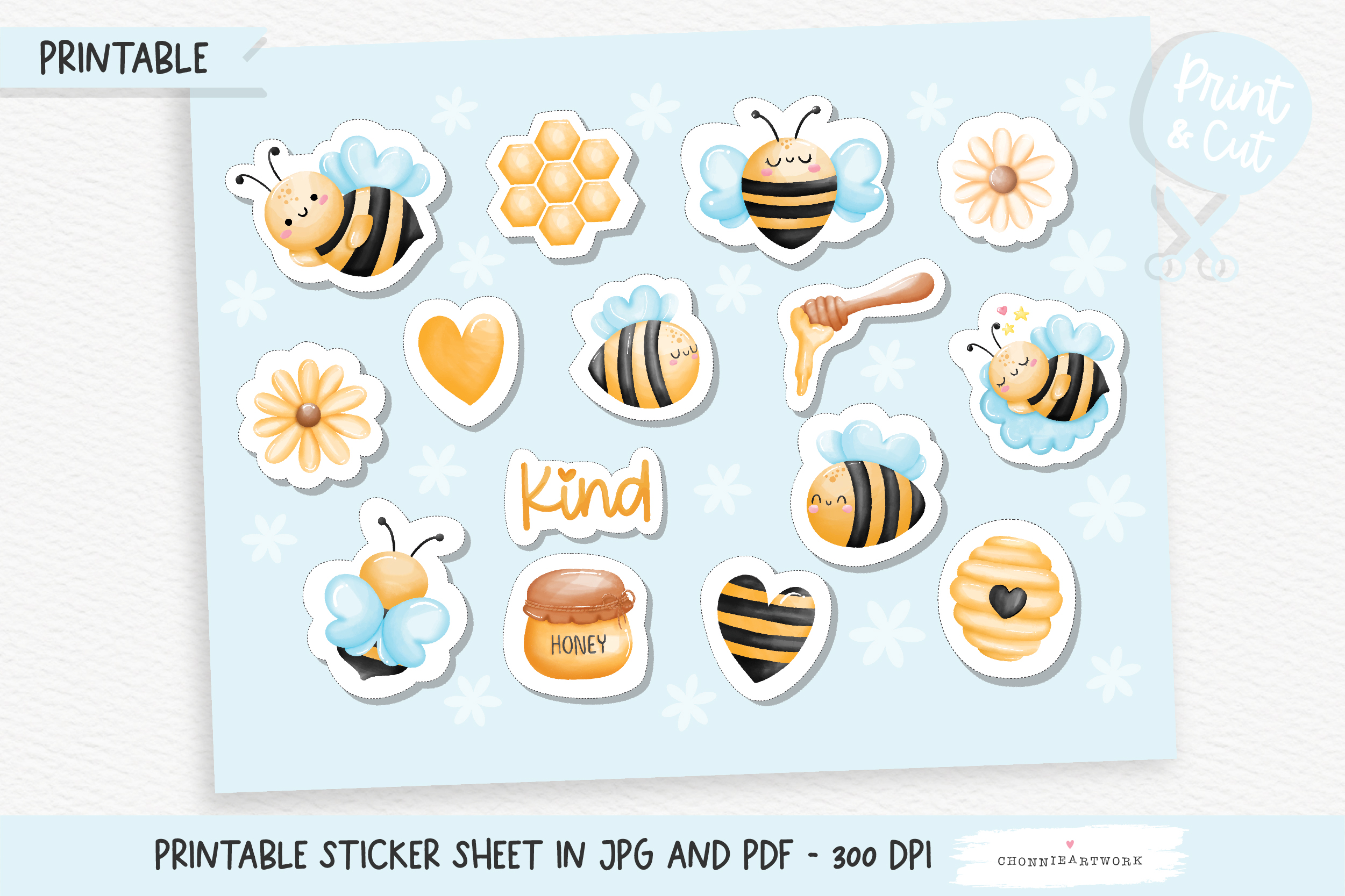 Honey Bee Printable Stickers, Planner SVG File