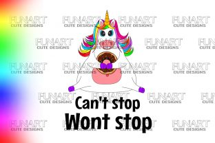 I Can't Stop , Funny Fat Unicorn , PNG Grafik Illustrationen von Fundesings