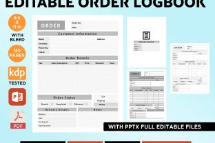 Print on Demand: KDP EDITABLE ORDER LOGBOOK 3 MODELS PPTX Graphic KDP Interiors By Queen Dreams Store