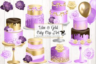 Print on Demand: Lilac and Gold Cakes Clip Art Graphic Illustrations By Digital Curio