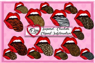 Print on Demand: Lips Mouth Tongue Clipart Sublimation Graphic Print Templates By DenizDesign