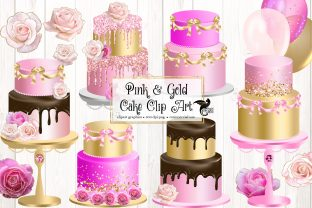 Print on Demand: Pink and Gold Cakes Clip Art Graphic Illustrations By Digital Curio