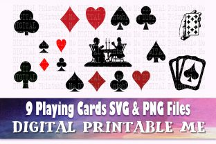 Print on Demand: Playing Cards Silhouette, Poker Deck Svg Graphic Illustrations By DigitalPrintableMe