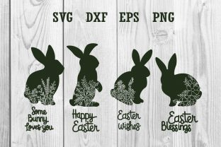 Print on Demand: Rabbit Floral Easter, Bunny Easter Graphic Print Templates By dadan_pm