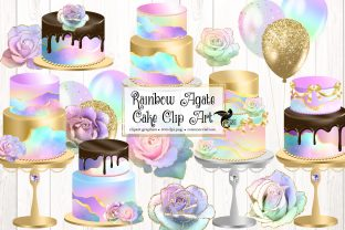 Print on Demand: Rainbow Agate Cakes Clip Art Graphic Illustrations By Digital Curio