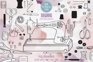 Sewing Doodles | Singer Machine, Buttons Graphic Illustrations By Digital_Draw_Studio
