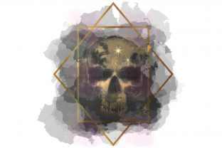 Print on Demand: Skull Watercolour Geometric Frame Graphic Print Templates By RainbowDesigns