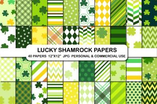 St. Patrick's Day Clover Digital Papers Grafik Hintegründe von bestgraphicsonline
