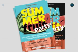 Summer Party Flyer V5 Graphic Print Templates By risegraph
