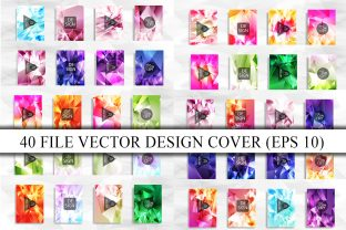 40 Cover with Colorful Polygon Texture Graphic Graphic Templates By Artnoy