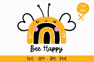 Print on Demand: Bee Happy Rainbow SVG Graphic Crafts By Chonnieartwork