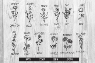 Print on Demand: Birth Month Flowers Clipart Floral Graphic Print Templates By dadan_pm