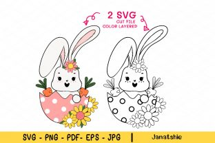 Print on Demand: Cute Bunny Spring Easter SVG Clipart Graphic Illustrations By Janatshie