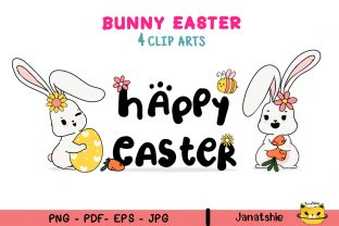 Print on Demand: Cute Bunny Spring Easter Clipart Set Graphic Illustrations By Janatshie