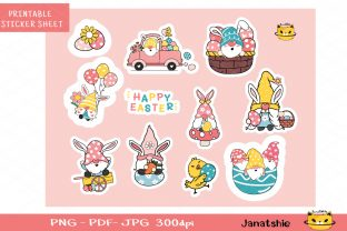 Easter Gnome Printable Stickers, Digital Graphic Illustrations By Janatshie