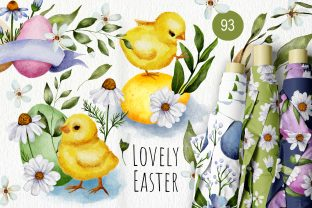 Print on Demand: Easter Watercolor Chicken Bundle. Graphic Illustrations By Red Ink